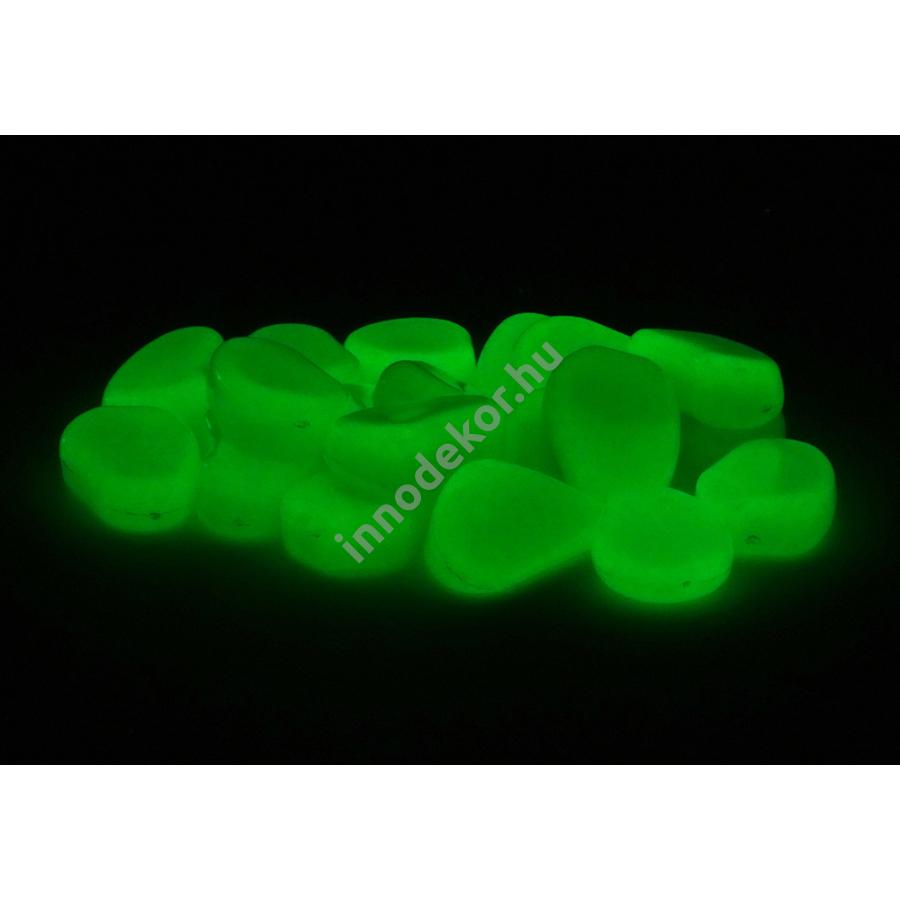 Innodekor foszforeszkáló dekor kavics - kicsi, zöld, 10db