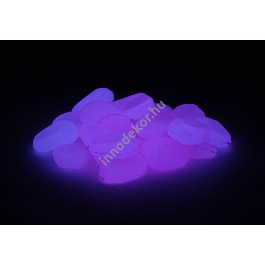 UnikromGlow foszforeszkáló dekor kavics - kicsi, magenta