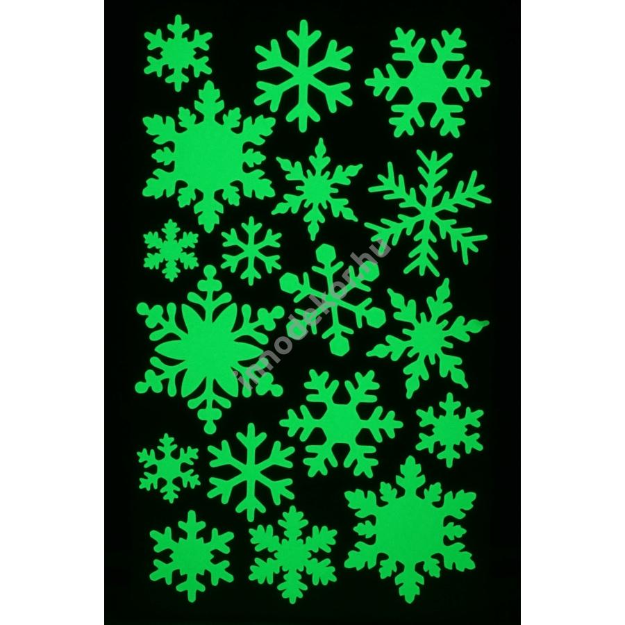 Innodekor foszforeszkáló dekor matrica - hópihék