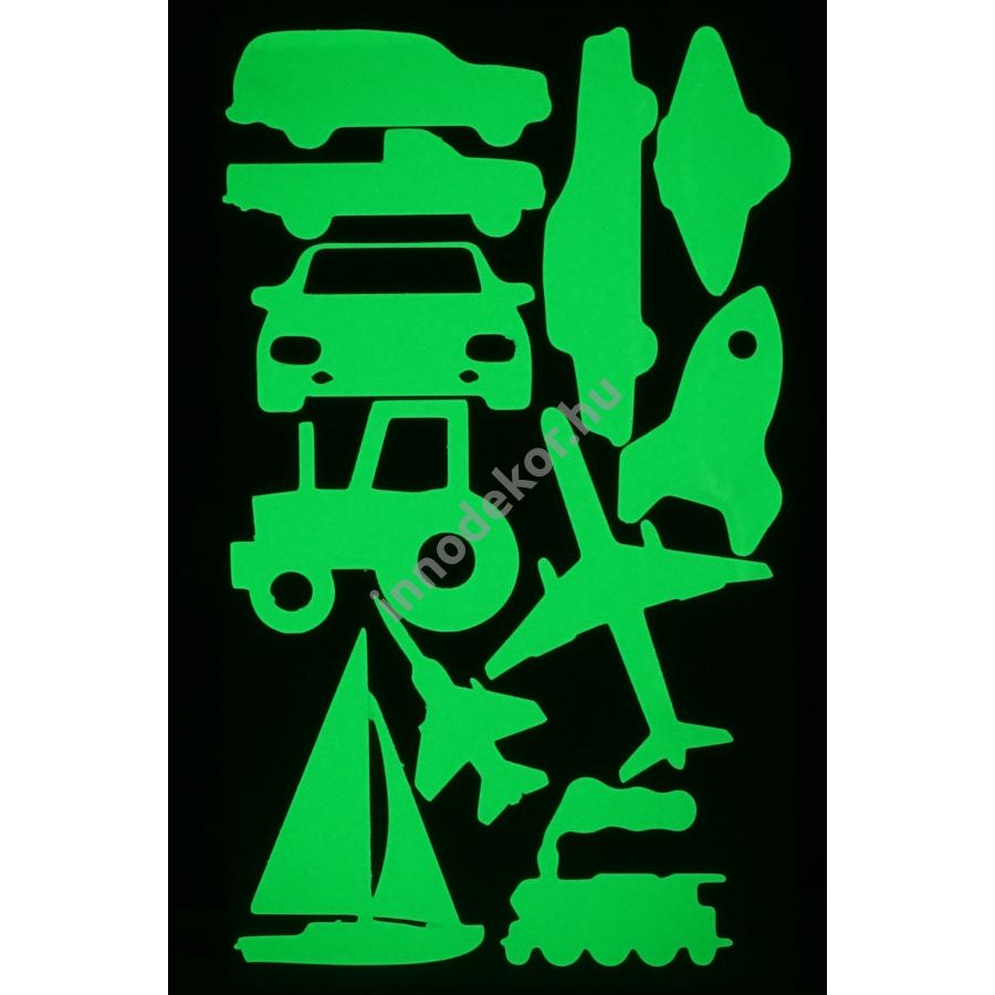UnikromGlow foszforeszkáló dekor matrica - járművek