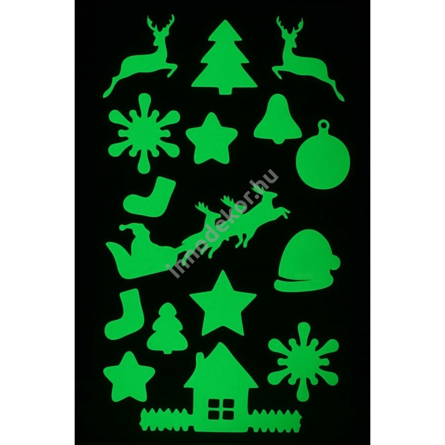 Innodekor foszforeszkáló dekor matrica - karácsony 2.