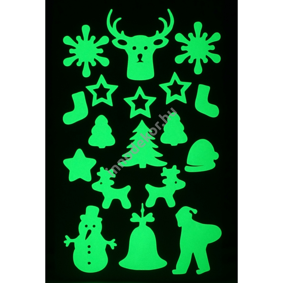Innodekor foszforeszkáló dekor matrica - karácsony 3.
