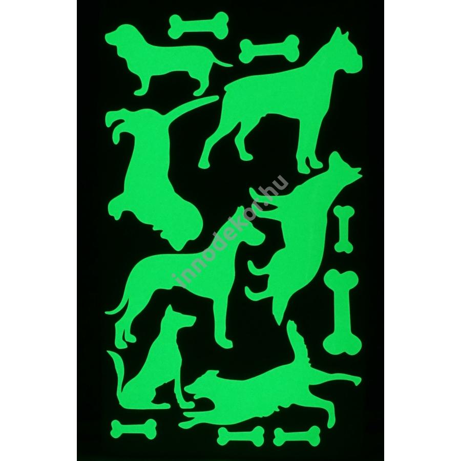 UnikromGlow foszforeszkáló dekor matrica - kutyák