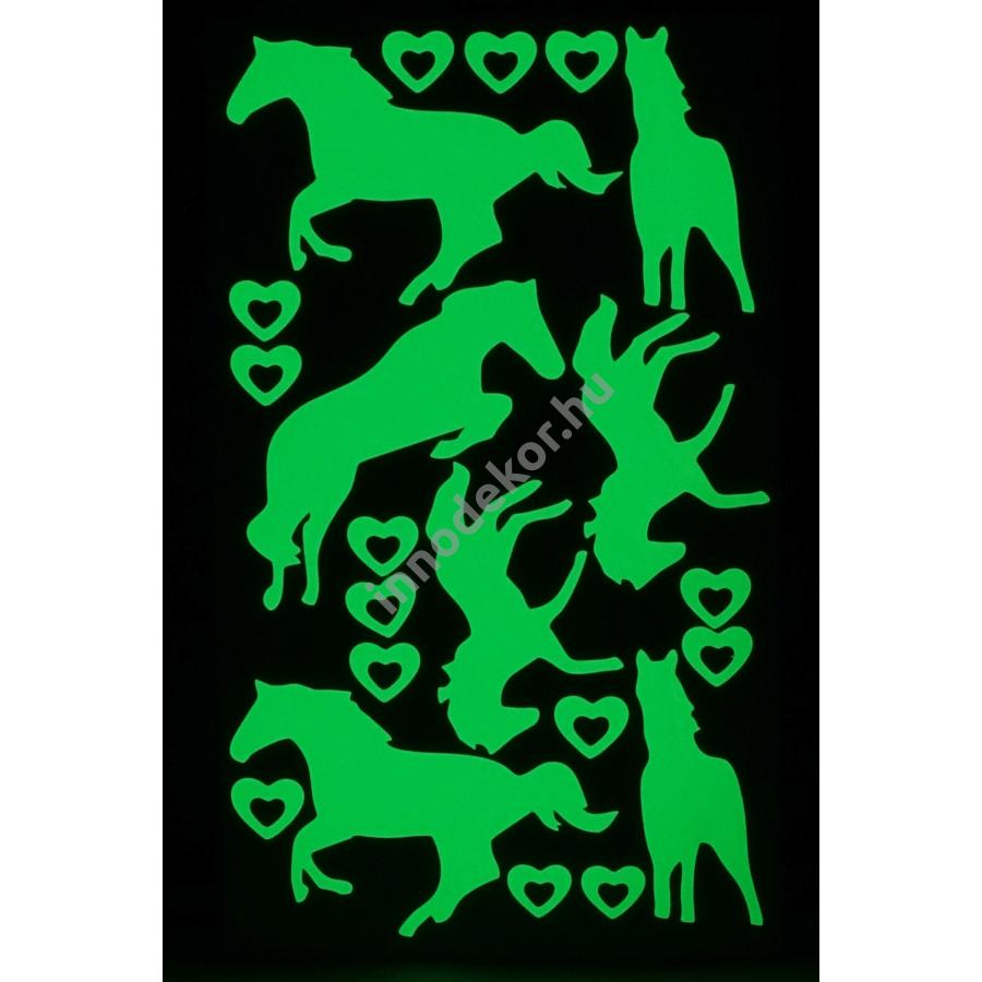 UnikromGlow foszforeszkáló dekor matrica - lovak és szívek