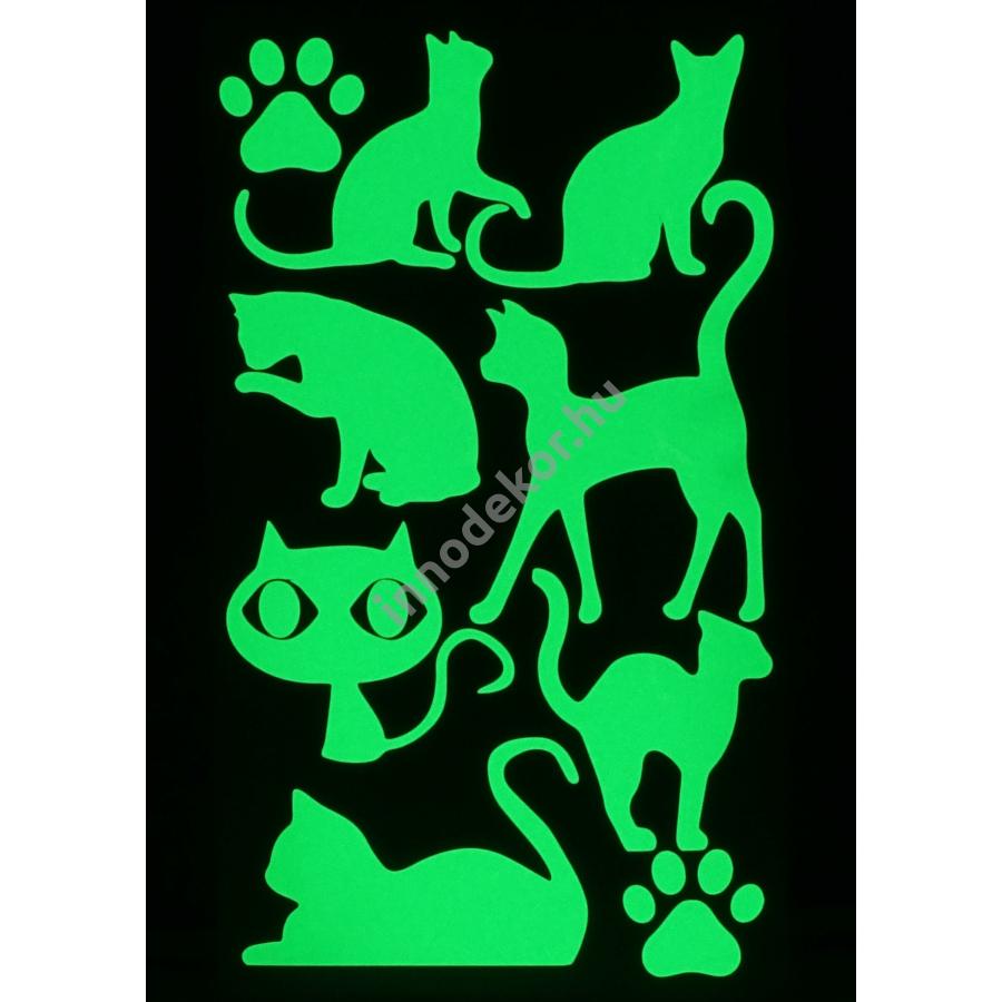 UnikromGlow foszforeszkáló dekor matrica - macskák