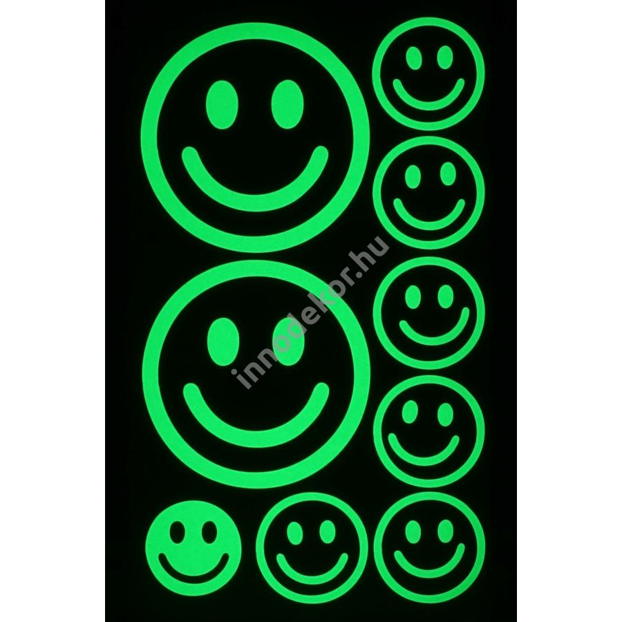 Innodekor foszforeszkáló dekor matrica - smiley