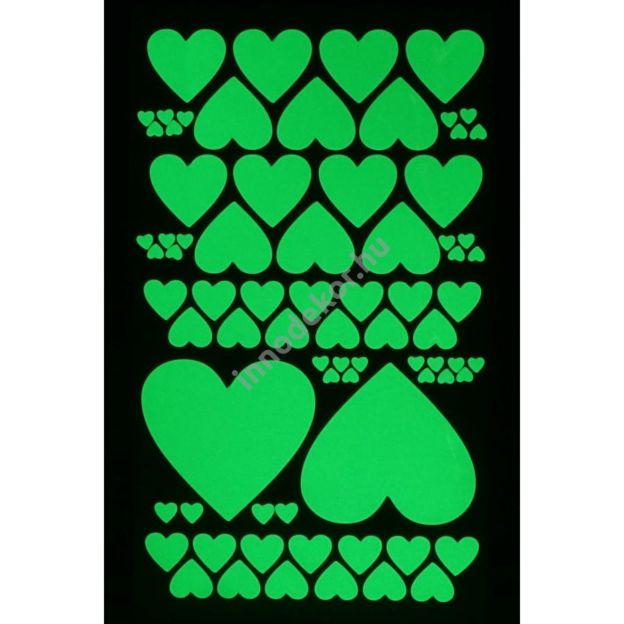 UnikromGlow foszforeszkáló dekor matrica - szívek