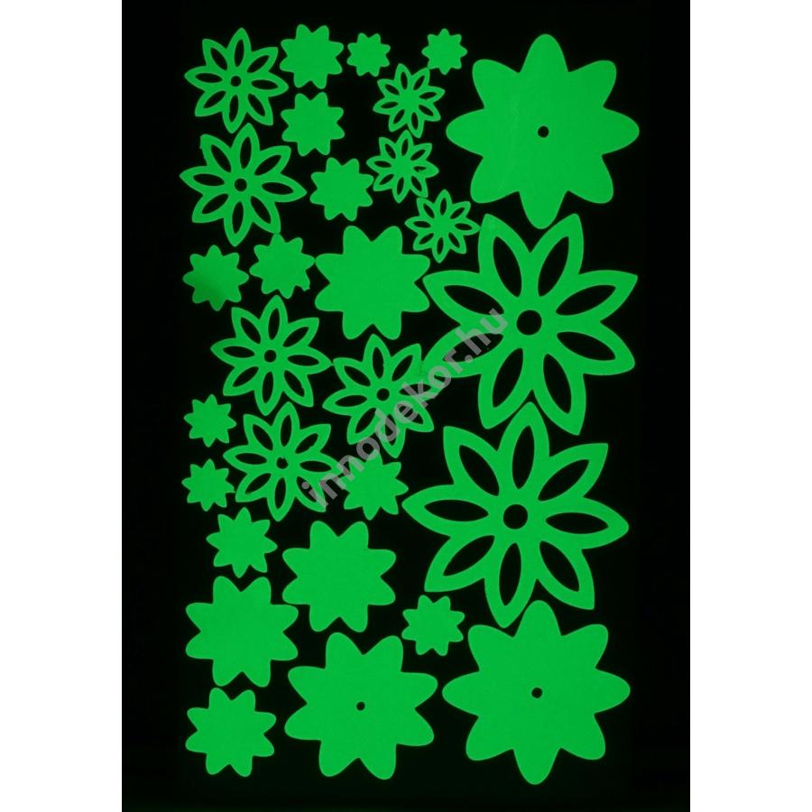 Innodekor foszforeszkáló dekor matrica - virágok