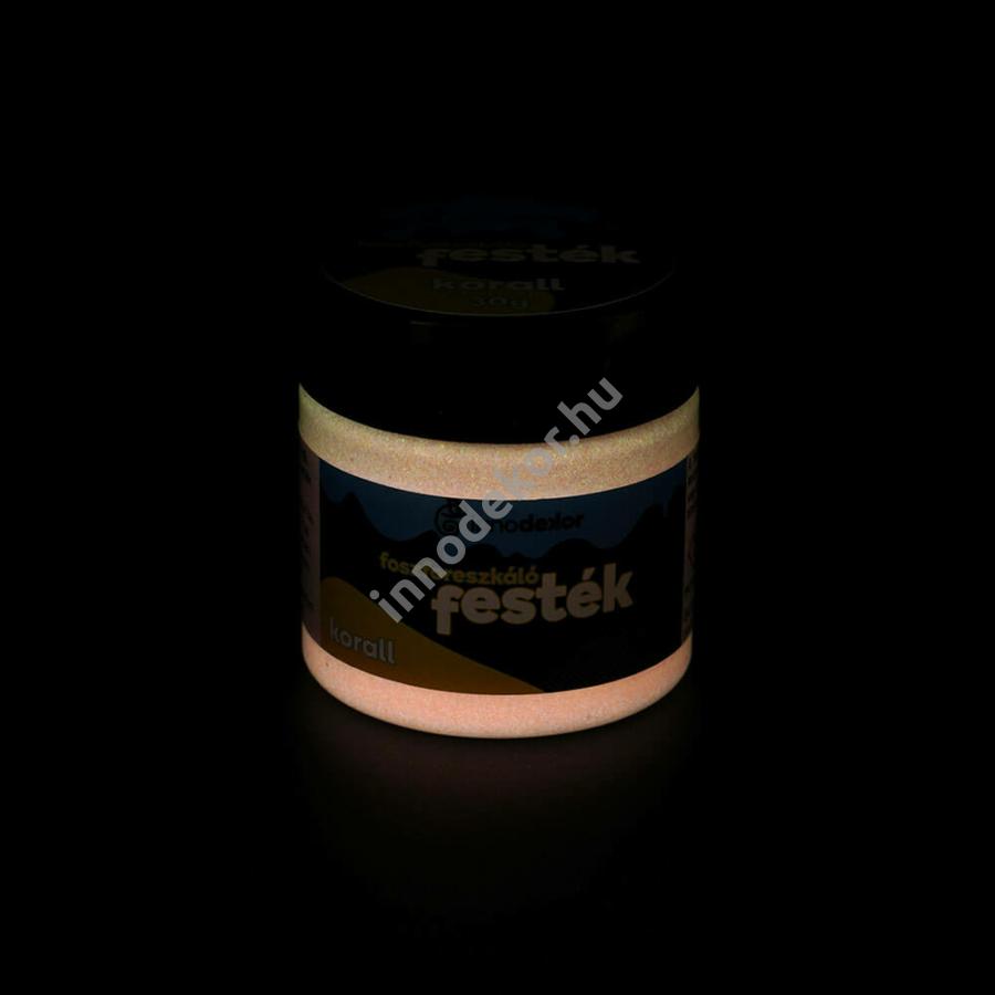 Innodekor foszforeszkáló akril festék, korall, 30g - sötétben világító