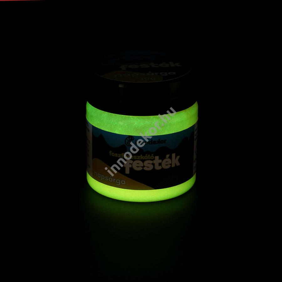 Innodekor foszforeszkáló akril festék, napsárga, 30g - sötétben világító