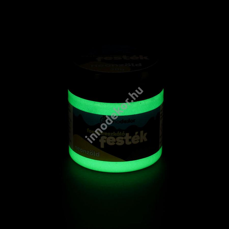 Innodekor foszforeszkáló akril festék, neonzöld, 30g - sötétben világító