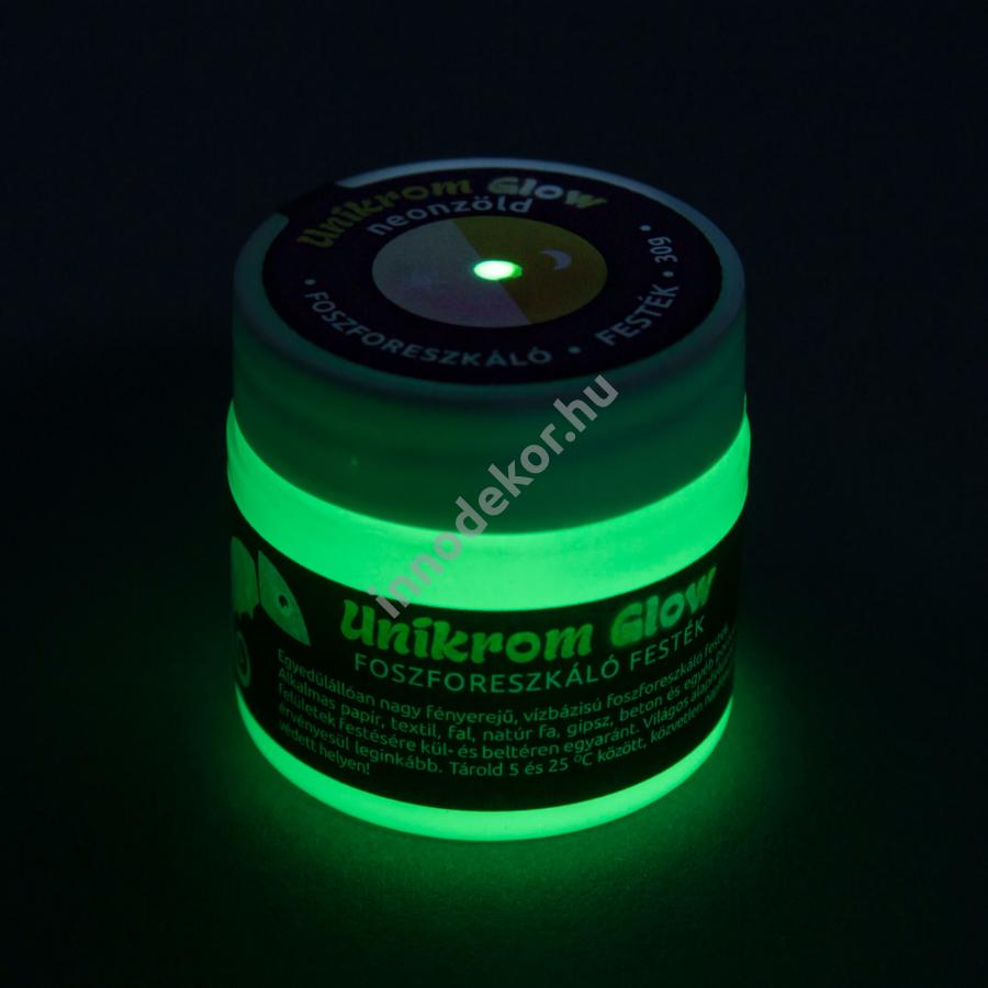 UnikromGlow foszforeszkáló festék - neonzöld, 30g
