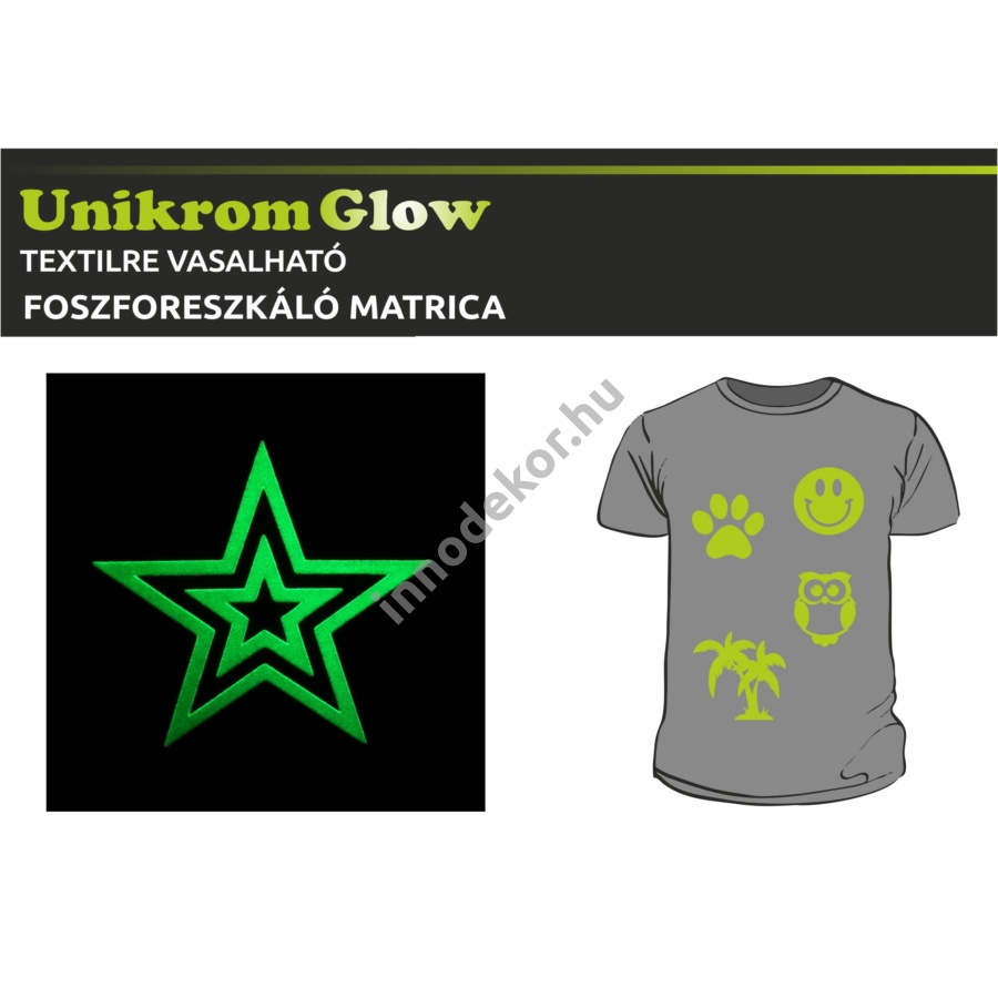 UnikromGlow foszforeszkáló vasalható matrica - csillag