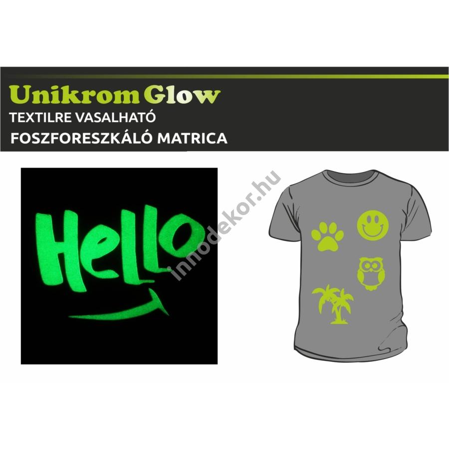 UnikromGlow foszforeszkáló vasalható matrica - hello