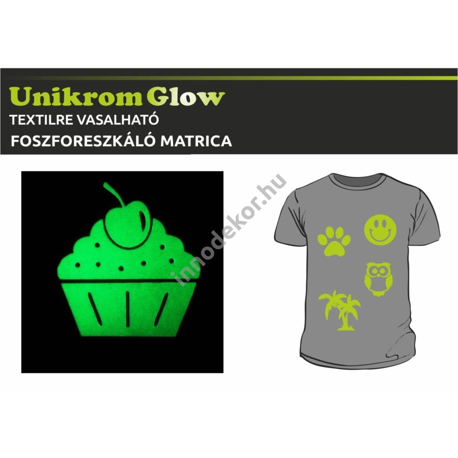 UnikromGlow foszforeszkáló vasalható matrica - muffin