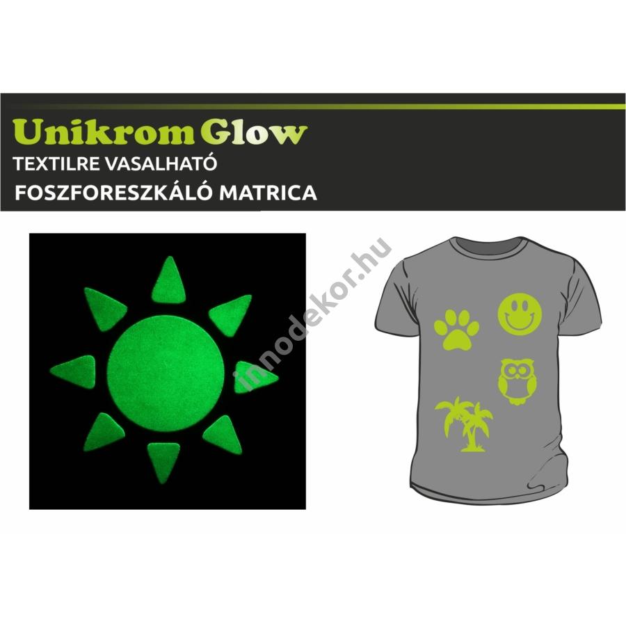 UnikromGlow foszforeszkáló vasalható matrica - nap