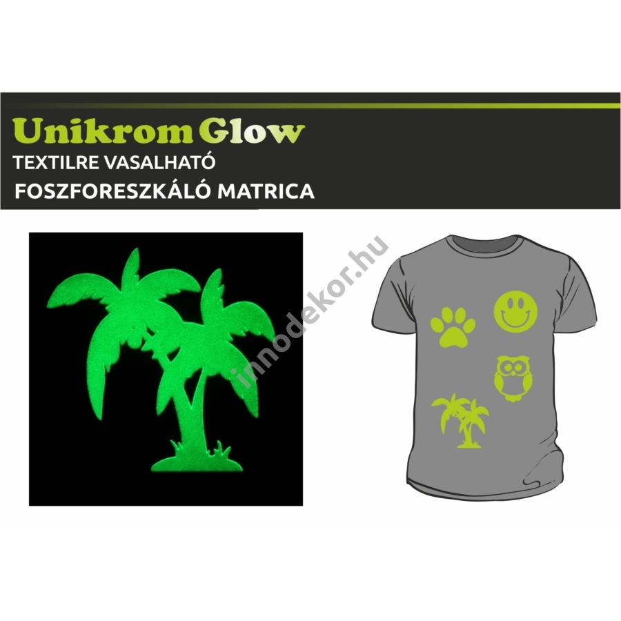 UnikromGlow foszforeszkáló vasalható matrica - pálmafák