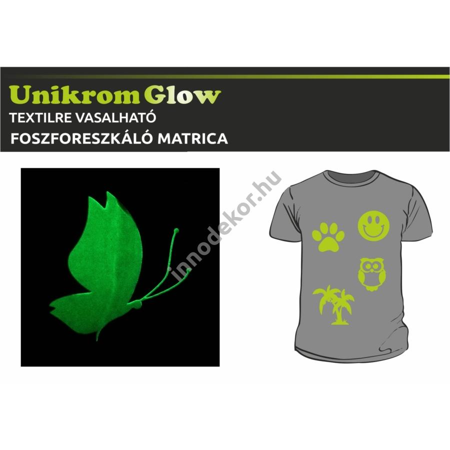 UnikromGlow foszforeszkáló vasalható matrica - pillangó