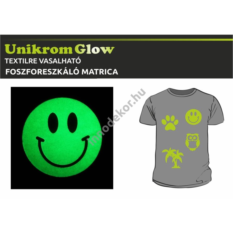 UnikromGlow foszforeszkáló vasalható matrica - smiley