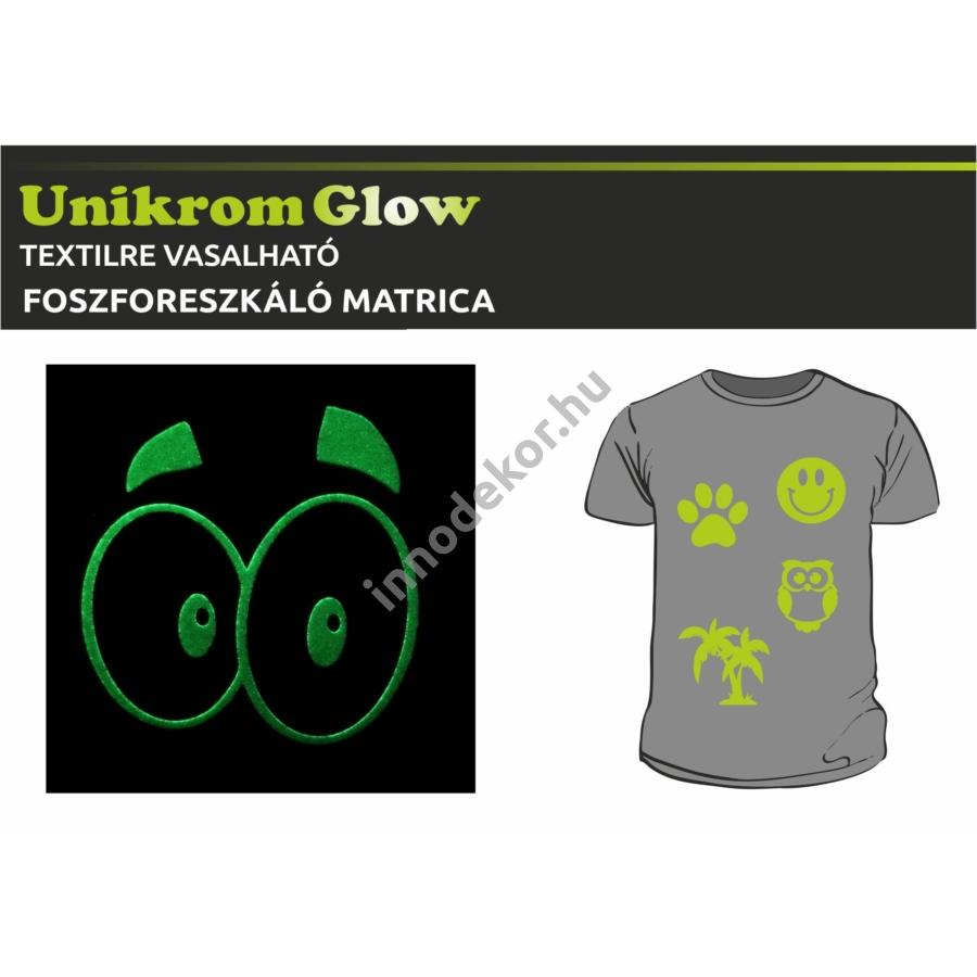 UnikromGlow foszforeszkáló vasalható matrica - szempár