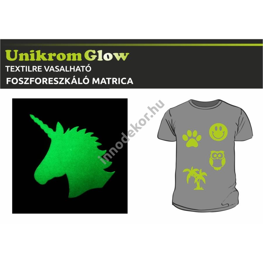 UnikromGlow foszforeszkáló vasalható matrica - unikornis