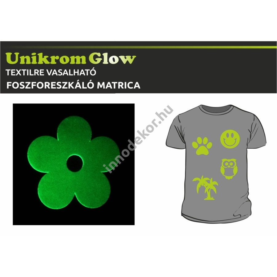 UnikromGlow foszforeszkáló vasalható matrica - virág