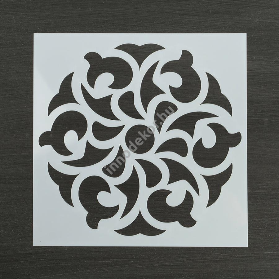 Festősablon (stencil) - Gréta, virágos mandala minta
