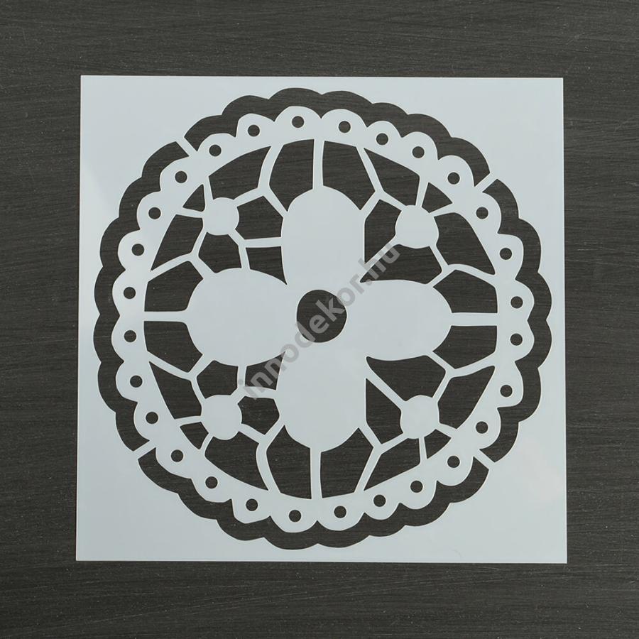 Festősablon (stencil) - Emma, virágos mandala minta