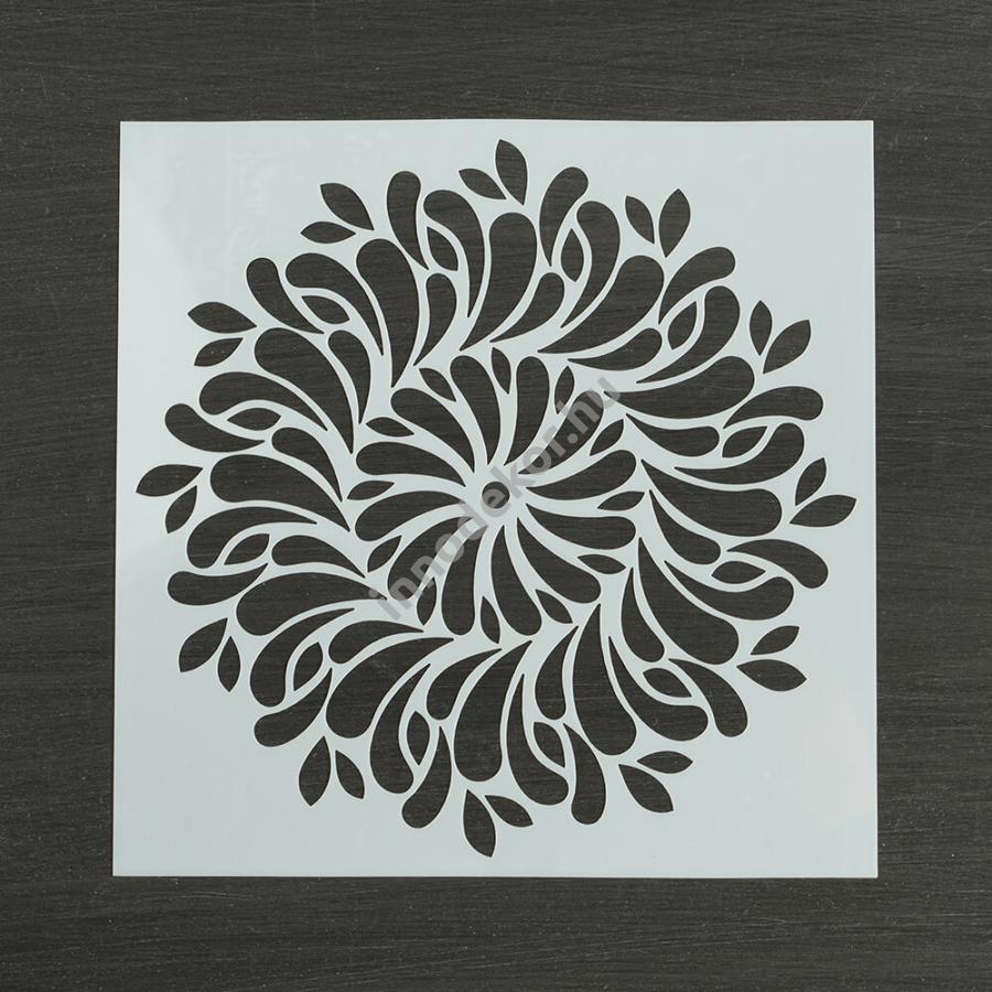 Festősablon (stencil) - Lilien, virágos mandala minta