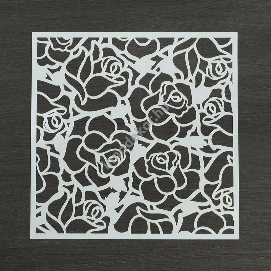 Festősablon (stencil) - Rózsa, csipke minta